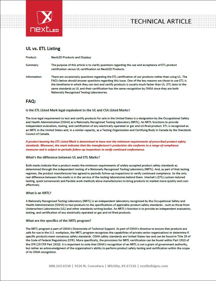 UL vs. ETL listing